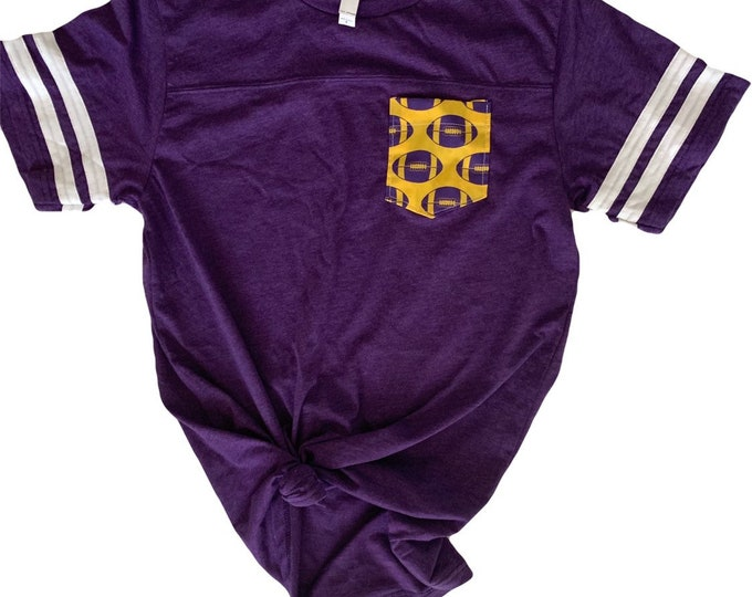 Purple Yellow Football Jersey Pocket Tee | Liberty Hill Texas Pocket Tee