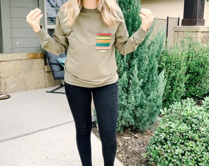 Olive Muted Rainbow Sweatshirt