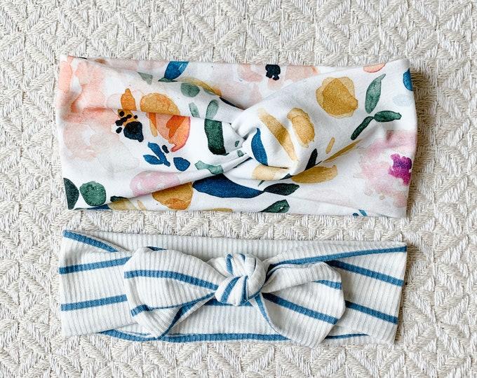 Blue Floral Headband Set