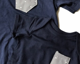 Mommy and Me Set, Navy and Gray, Olive and Gray