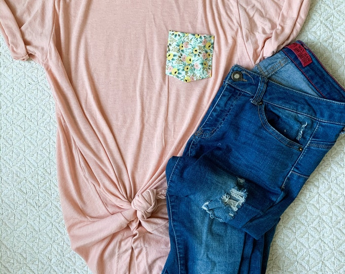 Peach + Yellow Floral Pocket Tee