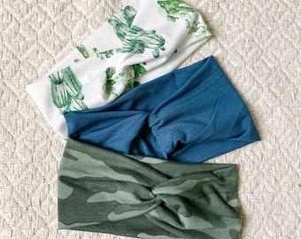 Headband Set, Camo/Cactus/Slate Blue