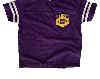 Purple Yellow Football Jersey Children's Pocket Tee | Liberty Hill Texas Pocket Tee