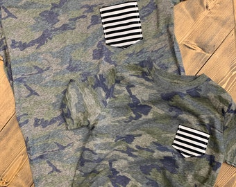 Mommy and Me Tshirt set, Camo + Stripes