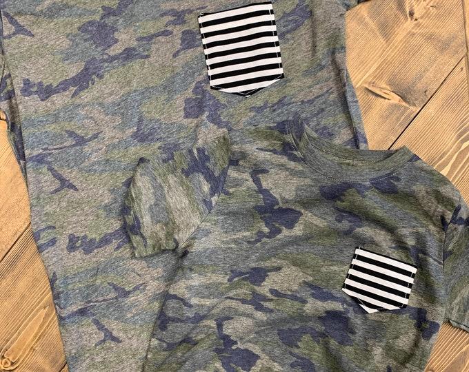 Mommy and Me Tshirt set, Camo + Stripes