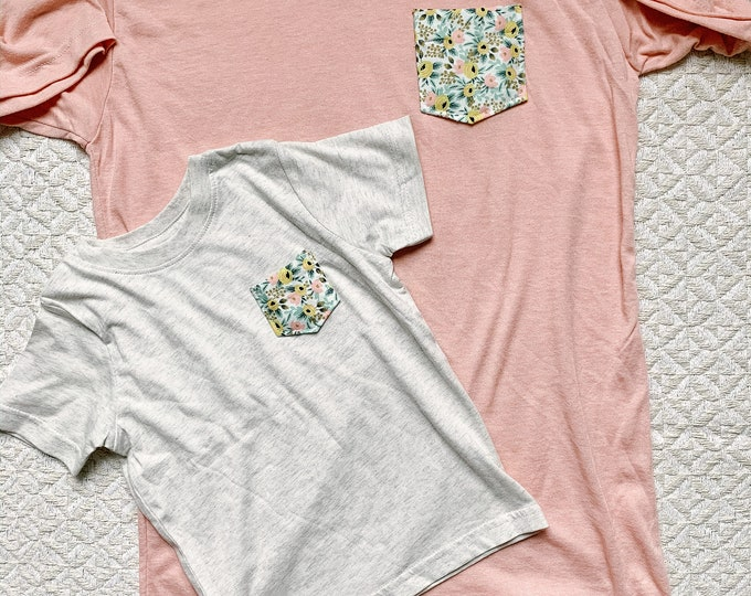Mommy and Me Tshirt Set, Peach Floral