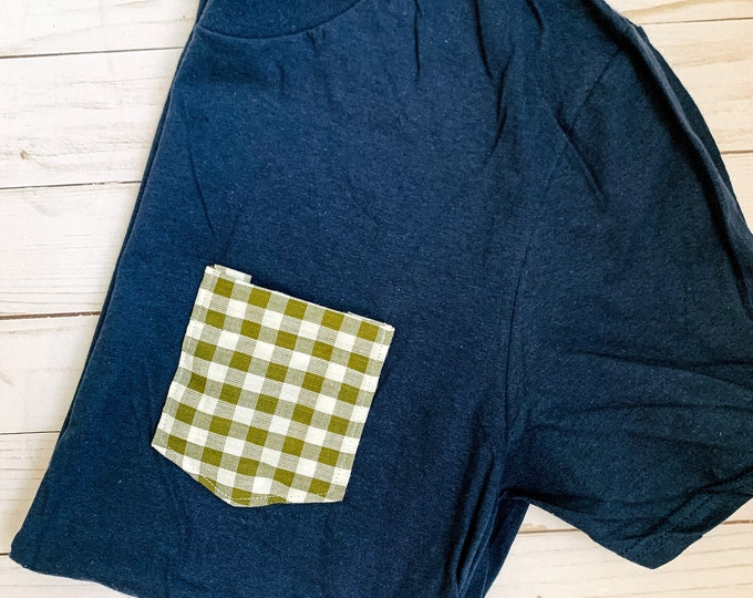 Navy Olive Plaid Tee