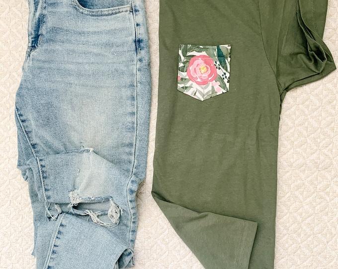 Sage and Rose Pocket Tee