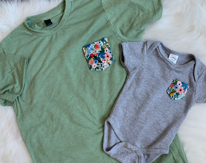 Mommy and Me Outfit, Green Floral