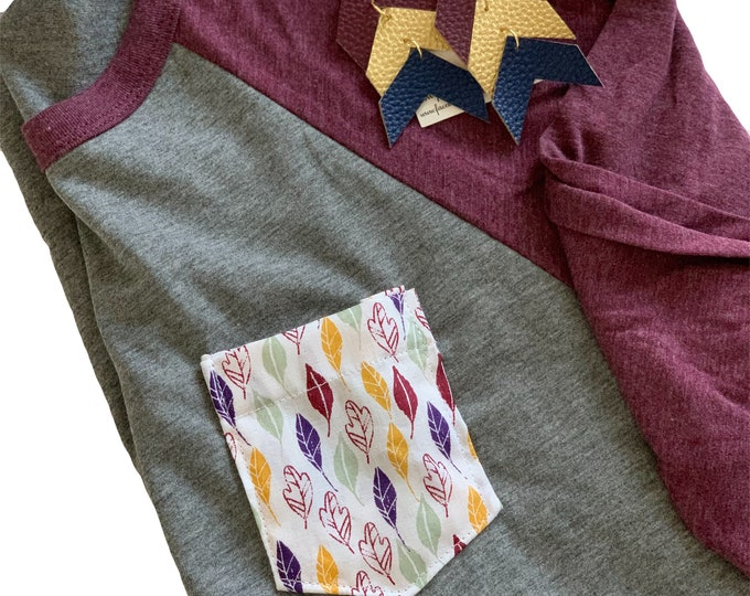 Maroon Feather Pocket Raglan Tee
