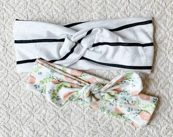 Black and White Stripe Floral Set