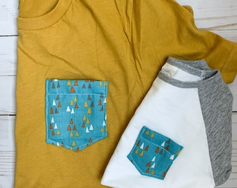Matching Tshirt Set, Mommy and me/daddy and me, Mustard Teal Geometric
