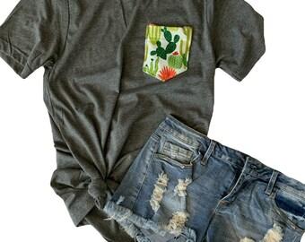 Cactus Pocket T-Shirt, Green and Cream