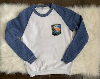 Blue Eco Friendly Floral Sweatshirt