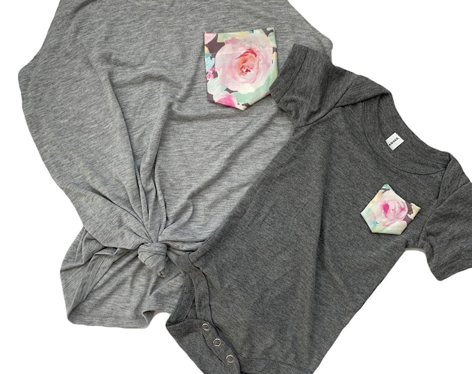 Mint Gray Floral Mommy and Me Set / mommy and me outfits / mommy and me outfits baby girl / mommy and me shirts / floral pocket tee boho