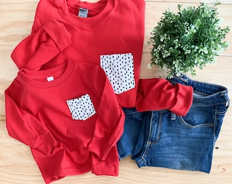 Mommy and Me Set, Red and Black Polka Dot