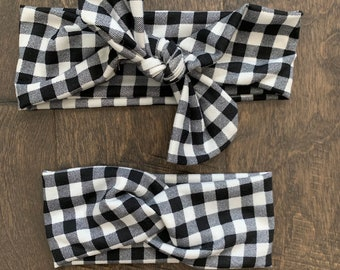Mommy and Me Headband Set, Black and White Gingham