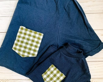 Matching Tshirt Set, Mommy and me/Daddy and me, Navy Olive Gingham Tees