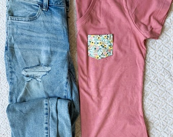 Mauve Yellow Mint Floral Tee