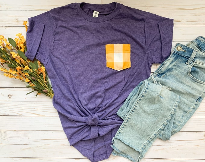 Purple Yellow Plaid Pocket Tee, Liberty Hill Tshirt