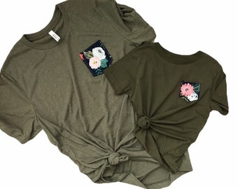 Mommy and Me Tshirt Set, Olive Navy Floral