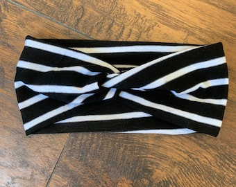 Black + White Stripe Turban