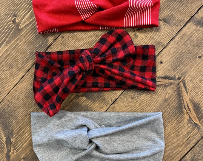 Winter Headband Set | Red, gray, and buffalo plaid