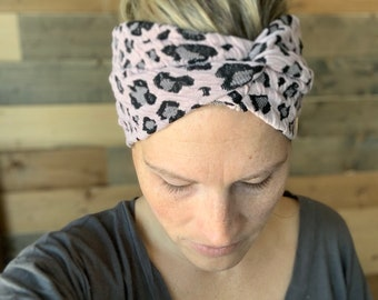 Mauve Leopard Headband