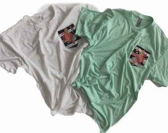 Striped Floral Pocket Tee, Mint or White