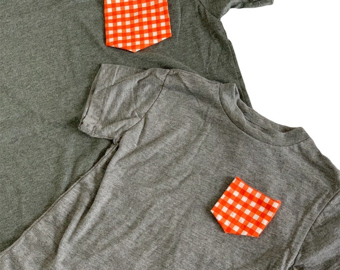 Gray Orange Gingham Mommy and Me Set