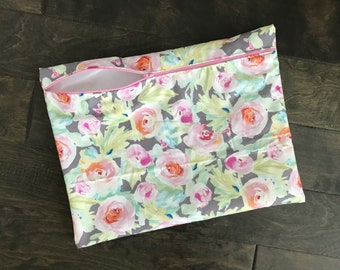 Gray Watercolor Floral Wetbag