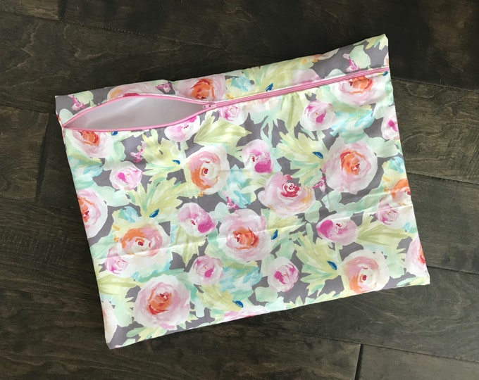 Gray Watercolor Floral Wetbag