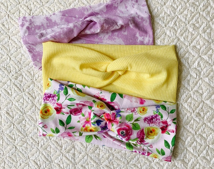 Headband/turban headband/headband turban/headbands for women/floral headband/headband set/purple yellow floral turban