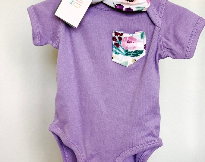 Purple Floral Tshirt + Headband Set