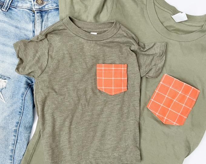 Mommy and Me Tshirt Set, Olive & Orange