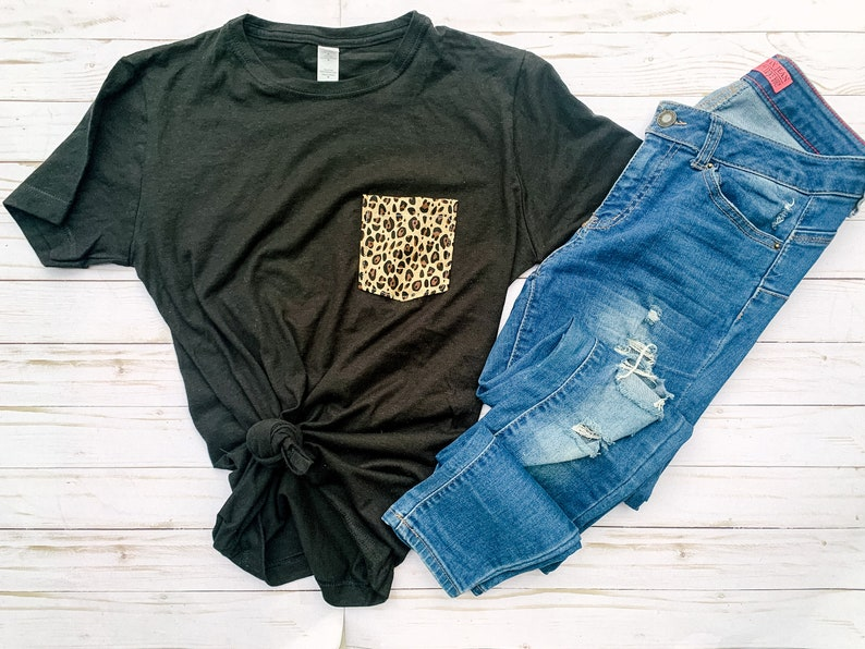 Black leopard print shirt for boho clothing outfit Animal print graphic tees for women Leopard clothing for best friend gift box