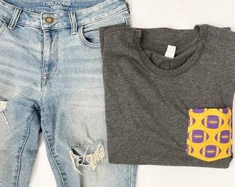 Liberty Hill Purple & Yellow Football Pocket Tee