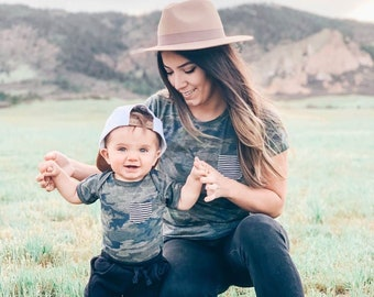 Mommy and Me outfits, Camo Stripe