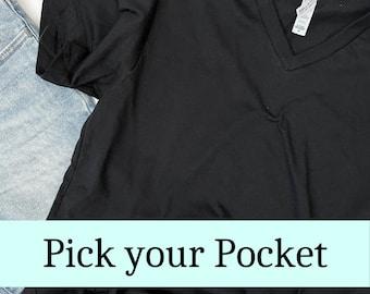 Black V-neck Tshirt, Choose Your Pocket