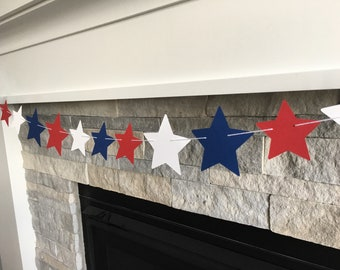 Star Banner -- Star Garland -- 4th of July Banner- Red, White & Blue Banner - 4th of July- Memorial Day Banner- Star Backdrop