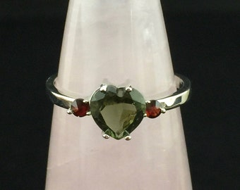 8-3 Genuine Czech Faceted Moldavite and Garnet Sterling Silver Rhodium Plated Necklace Czech Candy :