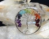 Silver Tree of Life Pendant With Gemstone Chakra Stack