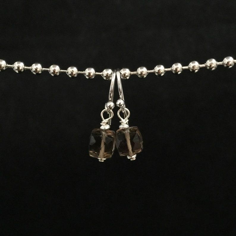 Playful Faceted Smoky Quartz Dangle Earrings E-2