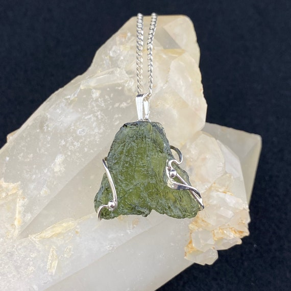 1-20 The Odra Art Nouveau Inspired Rough Moldavite and Rhodium Plated Sterling Silver Pendant One of a Kind
