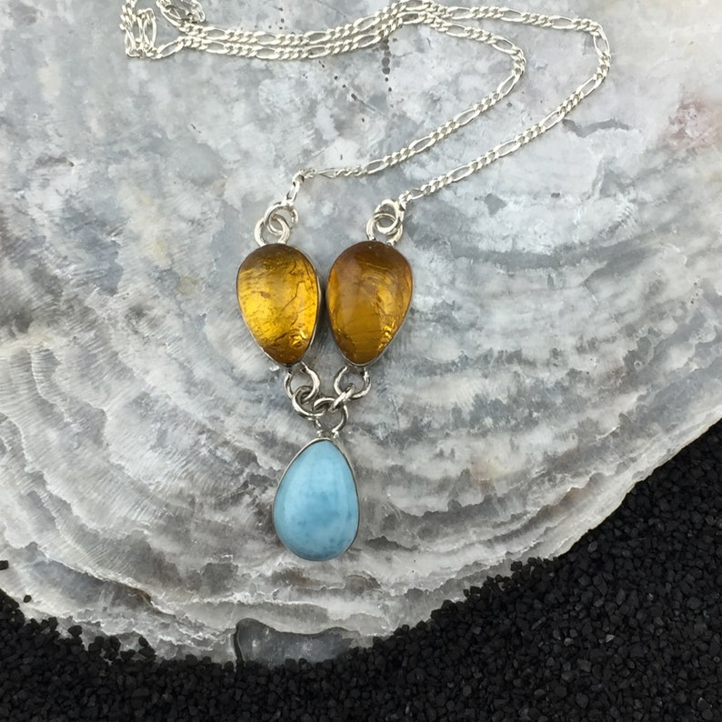 Dominican Amber and Larimar Sterling Silver Necklace 1-2 Gorgeous