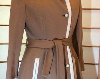 0dfda58ec47e55 Vintage 1960s Lilli Ann Beige Classic Wool Knit Dress and Matching Coat Set  M