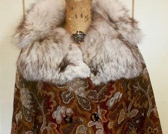 60s Mod Tapestry Carpet Coat Swing Coat Double Breasted Large Norwegian Fox Fur M//L/XL