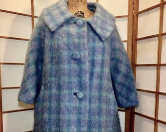 Lilli Ann Pendleton Plaid Blue/Purple/Mohair  and Wool Swing Coat Vintage 50's 60's