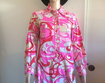 Pink Red, Psychedelic 70'S Dress Vintage