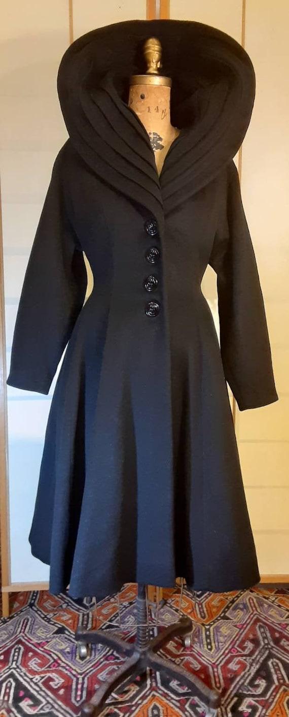 Women's Vintage Coat-50s Lilli Ann Classic Black F